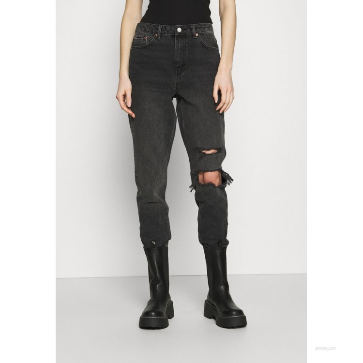 Topshop WASHED BLACK SEOUL RIP MOM Relaxed fit jeans washed black/black