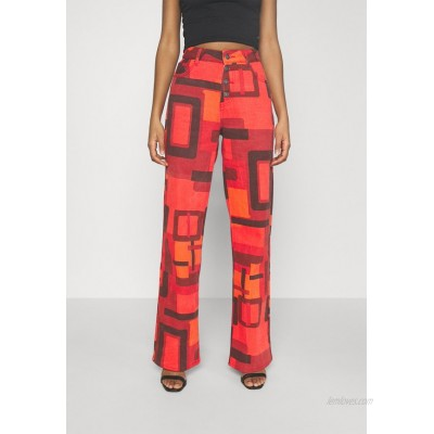 Jaded London PRINTED SLOUCHY FIT SMOKE PRINT Flared Jeans red