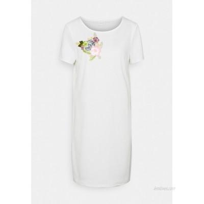 Vila VITINNY FLOWER DETAIL DRESS Jersey dress snow white/white