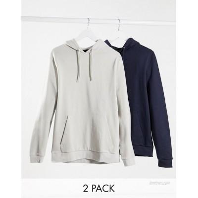 DESIGN organic hoodie 2 pack in navy / light grey