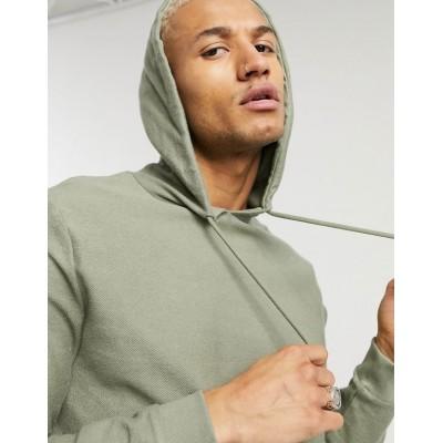 DESIGN organic hoodie in green reverse loopback