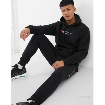 Nicce denver hoodie with multi colour logo in black