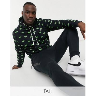 Nike Tall Club all over script logo hoodie in black