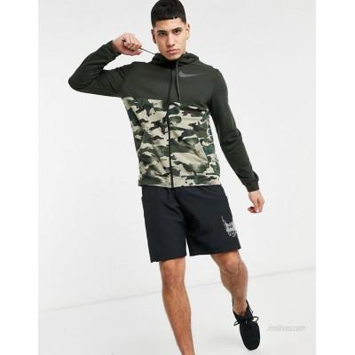 Nike Training Dri-FIT camo full-zip hoodie in green