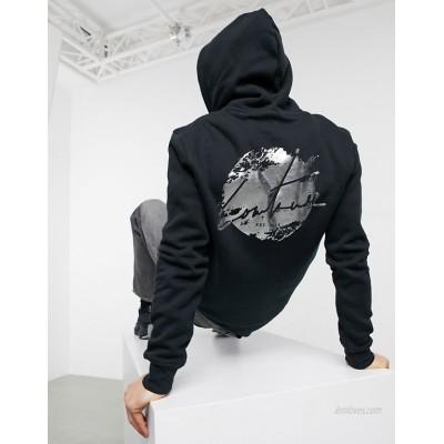 The Couture Club slim fit distressed back print hoodie in black