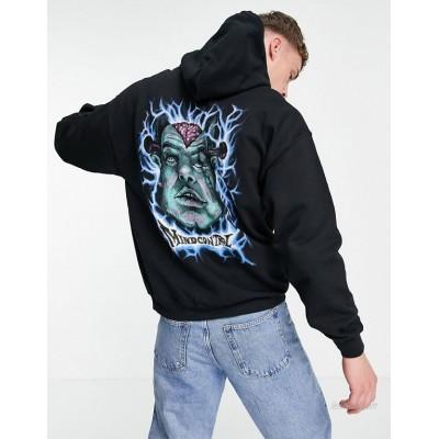 Vintage Supply mind control graphic hoodie in black