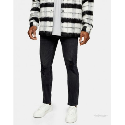 Topman stretch skinny jeans with rips in washed black