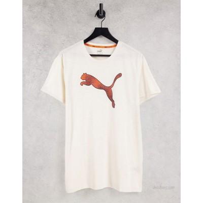 Puma Training logo t-shirt in cream and orange