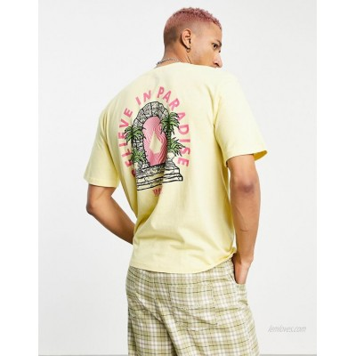 Volcom Believe in Paradise LSE back print t-shirt in yellow