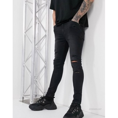 DESIGN spray on jeans in power stretch with heavy rips in washed black