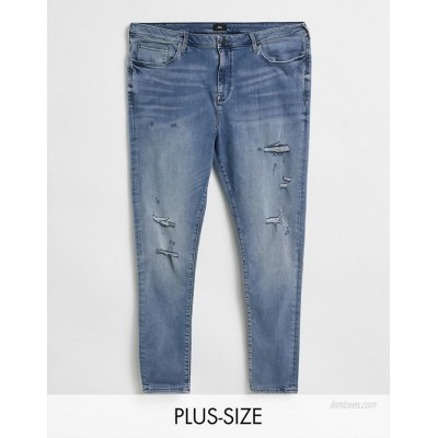 River Island Big & Tall spray on jeans in blue