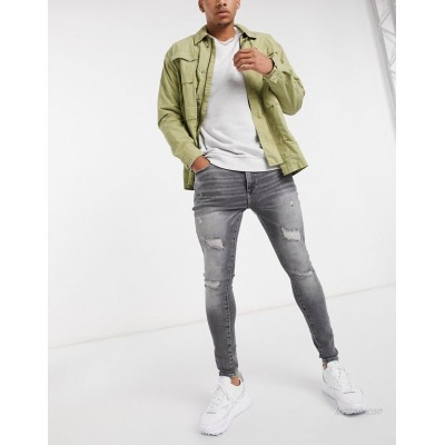 River Island spray on ripped jeans in grey
