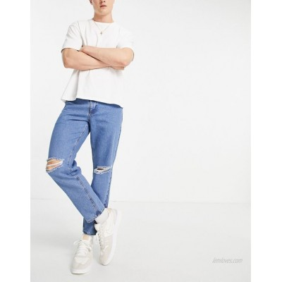 DESIGN classic rigid jeans in flat mid blue with knee rips