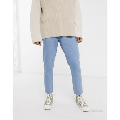 DESIGN classic rigid jeans in light wash blue with raw hem