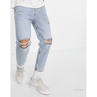 Pull&Bear relaxed fit jeans in blue with rips