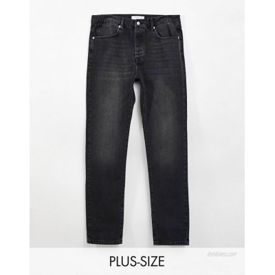 Topman big straight leg jeans in washed black