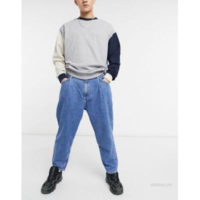Bershka balloon fit jeans in blue