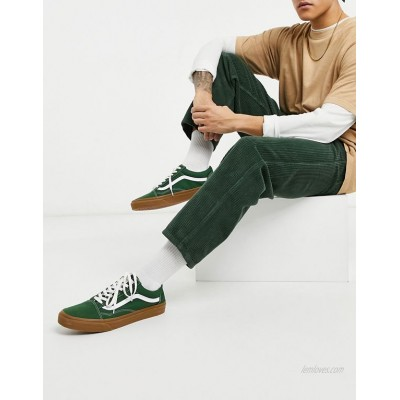 DESIGN relaxed tapered corduroy jeans in dark green