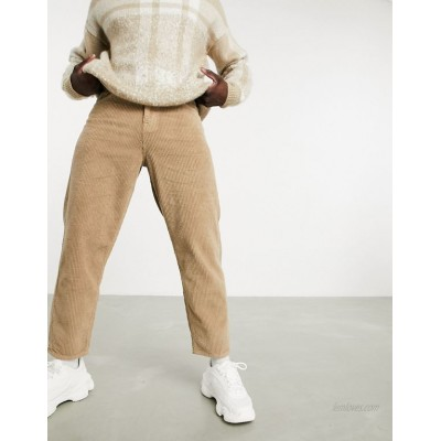 DESIGN relaxed tapered corduroy jeans in light brown