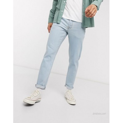 DESIGN tapered jeans in light wash