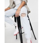 DESIGN classic rigid jeans in pale blue with rips
