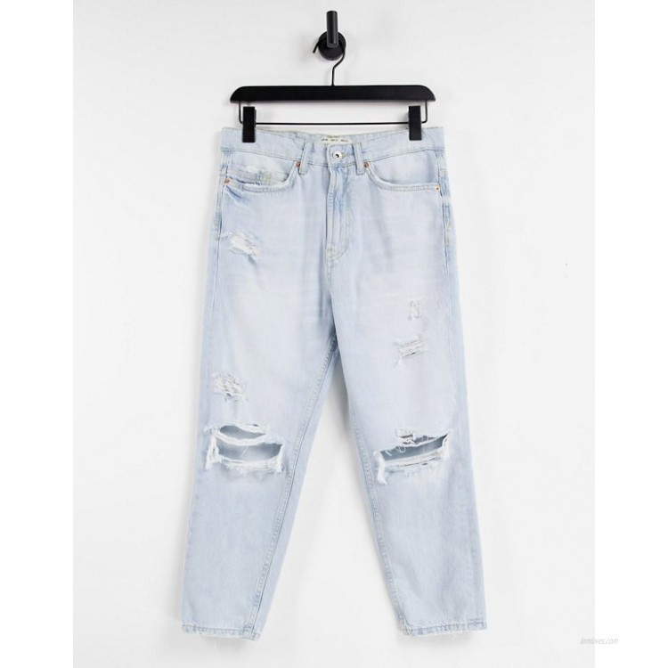 Pull&Bear relaxed jeans with rips in light blue