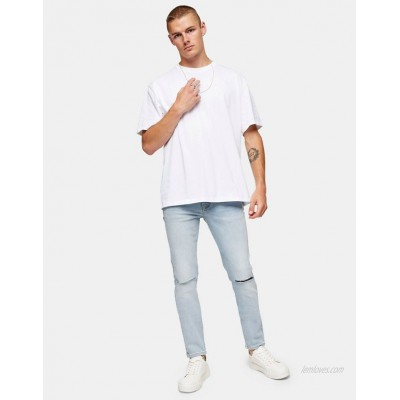 Topman organic cotton knee ripped stretch skinny jeans in bleach