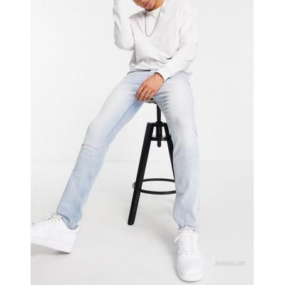 Topman organic cotton stretch skinny raw hem jeans in bleach