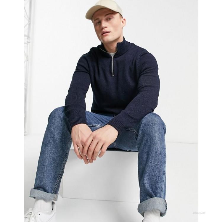 DESIGN cotton half zip sweater in navy