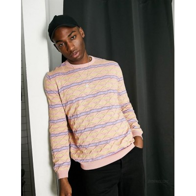 DESIGN knitted pointelle sweater with stripe design in pink