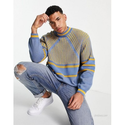 DESIGN knitted rib sweater with contrast stripe in blue