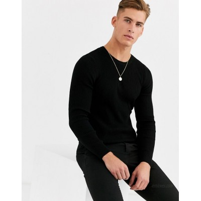 DESIGN muscle fit ribbed sweater in black