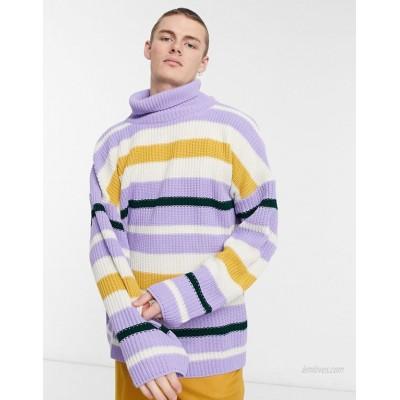 DESIGN oversized funnel neck fisherman ribbed sweater in multi color stripe