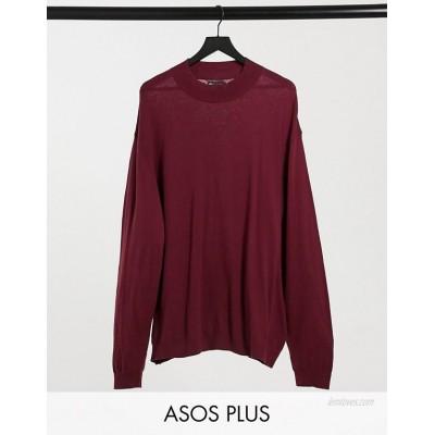 DESIGN Plus cotton sweater in burgundy