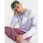 DESIGN texture knit sweater in camo design in lilac tones
