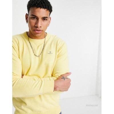 Gant icon logo classic cotton knit sweater in brimstone yellow heather