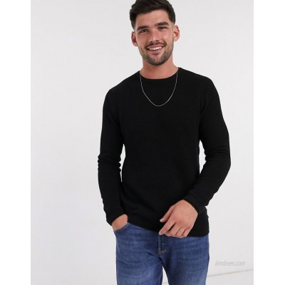Only & Sons jumper in texture black