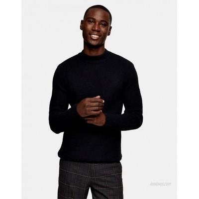 Topman fluffy turtle neck sweater in black