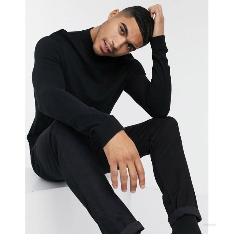 Topman knit turtle neck sweater in black