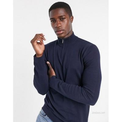 Topman knitted half zip turtleneck sweater in navy