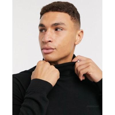 Topman knitted roll neck sweater in black
