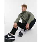 Topman knitted roll neck sweater in green