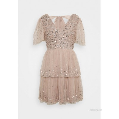 Maya Deluxe EMBELLISHED TIERED MINI DRESS WITH TIE BACK Cocktail dress / Party dress taupe blush/nude