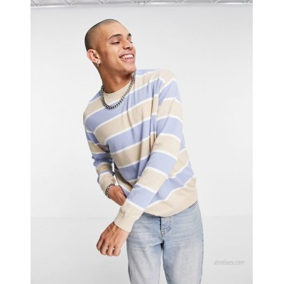 DESIGN knit oversized striped sweater in pale blue