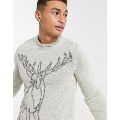 DESIGN knitted christmas sweater with stag design