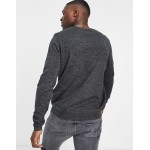 DESIGN knitted crew neck sweater in charcoal