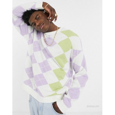 DESIGN knitted sweater with argyle pattern in pastel tones