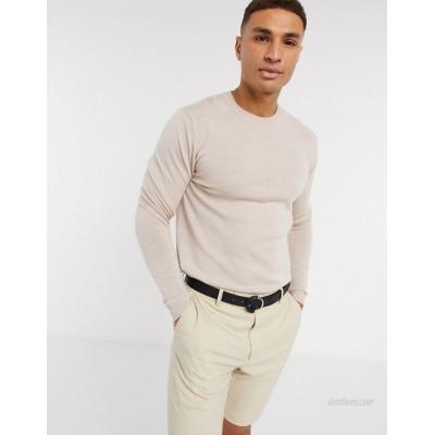 DESIGN muscle fit merino wool crew neck sweater in oatmeal heather