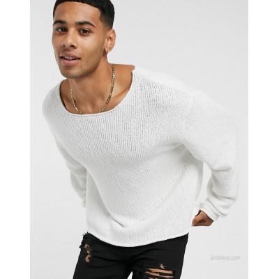 DESIGN oversized textured jumper in off white