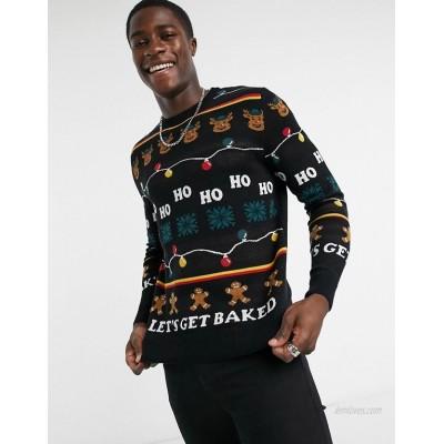 Jack & Jones Originals Christmas sweater in black
